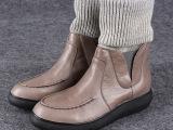 冬季新款真皮韩版平底内增高女欧洲站短靴袜筒女鞋驾车女鞋批发