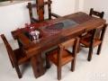 老船木茶桌实木小型阳台茶几中式功夫泡茶台茶桌椅组合古船木家具