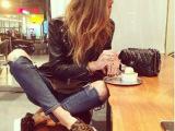 新款黑色真皮马毛豹纹松紧休闲单鞋乐福鞋女鞋白底板鞋平底鞋子