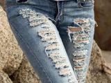 尚奕菲 欧洲站女装牛仔裤 女 破洞牛仔铅笔裤 低腰弹力修身小脚裤