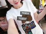 2018夏装新款韩版女装上衣打底印花圆领短袖T恤女