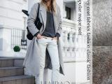 灰色羊毛 羊绒面料 大衣时装布料 085