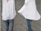 韩国代购同款翻领娃娃式宽松大版白衬衫女装微信代理1039