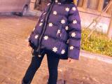 冬装娃娃款棉服 韩版雏菊刺绣款A摆 女童装儿童宝宝棉衣 厂家直批