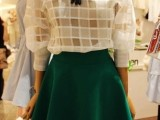 2014春装新款女装韩国东大门代购长袖格子欧根纱短裙两件套连衣裙