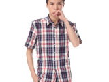 夏季新款品牌男式短袖衬衫时尚潮男批发全棉格子男士衬衣厂家直销
