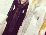 2015年 春季新款波西米亚民族风V领刺绣收腰系带连衣长裙