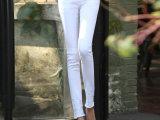 2014夏季新款白色破洞牛仔裤女九分小脚铅笔裤脚裤口毛边破洞