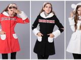 679号外贸原单2012秋冬新款 长款带帽长袖毛呢大衣女外套冬