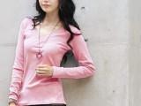 特价2013春季新款女装女式韩版休闲V领长袖打底t恤女