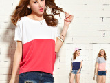 2014新款韩版女装大码拼接蝙蝠衫宽松百搭拼色短袖t恤