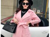 2015秋冬新款女装羊毛呢子大衣韩版修身款加厚毛呢外套大码风衣女
