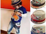 批发供应韩国儿童帽子 绣贴标麻草帽 礼帽 爵士帽 草编帽
