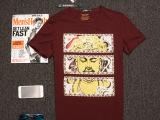 兄弟连盟男装2015新款莫代尔男士T恤 烫金水钻人物头像 库存批