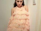 ccdd专柜 2014新款性感挂脖露肩蕾丝流苏镂空长袖甜美连衣裙