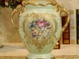 陶瓷花瓶摆件欧式家居创意装饰品手绘插花器客厅餐厅复古摆设