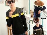 1088 男装毛衣男韩版针织毛衫新款修身纯色V领线衫男士打底衫