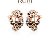 ROXI速卖通外贸畅销首饰耳饰批发奥地利水晶玫瑰金豹子耳夹