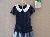 2014夏装新款韩版娃娃领可爱短袖女式t恤打底衫女装服装批发 3