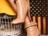 2014秋冬新款欧美真皮女靴头层牛皮牛筋底靴子粗跟短靴马丁靴A0