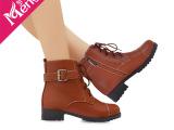 经典艾薇儿简约帅气休闲马丁靴 时尚皮带扣系带短靴 平底靴子女靴