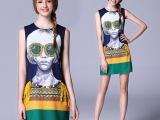 芭比琳欧洲站高端大牌女装2015春夏装新款欧美裙子真丝印花连衣裙