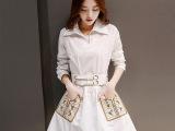 韩版时尚刺绣口袋深V衬衣领超显气质雪纺连衣裙(配腰带)