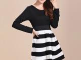 2014春装韩版连衣裙黑白条纹女装 百搭修身大码长袖打底裙 春款