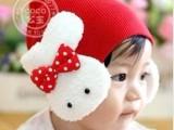 2014新款双兔护耳帽.宝宝帽.婴儿帽.儿童套头帽.男童女童兔子帽
