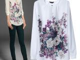 厂家直销 欧美早春新款 时尚百搭印花长袖衬衫 YLF-021