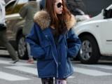 2014冬装新款 加绒加厚连帽毛领工装棉衣 棉服 韩国正品女装外