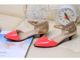 【厂家直销】2014春夏新款低跟尖头镂空百搭裸脚女单鞋 韩国女鞋