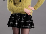 Sikya 秋季欧美时尚女装新款 短裙修身百褶高腰针织半身裙批发