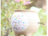 创意景德镇陶瓷园艺摆件手绘陶泥花盆花器花插工艺品家居装饰批发