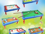 小额批发 儿童多功能玩具桌/塑胶玩具 6合1多功能球台 足球台