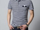 zara正品代购男装t恤短袖男士韩版修身翻领半袖体恤条纹海魂衫