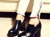 真皮英伦风粗跟女鞋舒适牛皮拉链高跟鞋子防水台圆头浅口牛皮单鞋