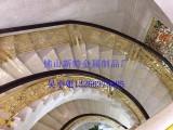 山东铝艺楼梯 铝艺楼梯扶手 生动牡丹花精雕品