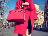 秋冬新款韩版宽松毛呢大衣女中长款呢子风衣加厚羊毛呢外套