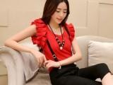 2014韩版时尚休闲显瘦两件套装短袖雪纺衫上衣+背带七分裤子潮女