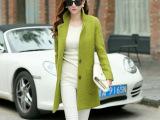 明星大牌气质修身时尚韩版大口袋中长款毛呢外套羊毛呢子大衣女