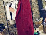 2014冬装新款女装韩版加厚毛呢外套宽松中长款毛呢大衣呢子大衣潮
