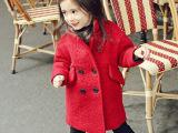 童装冬款批发双排扣韩版女童毛呢外套儿童羊毛呢大衣加毛一件代发