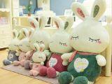 批发供应 13新品LOVE兔毛绒玩具兔公仔 围巾爱心眯眼兔害羞米