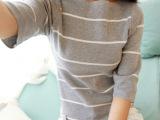 薄款针织衫女式条纹中袖空调衫百搭毛衣套头秋季罩衫特价代理加盟