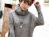 女装厂家直销 欧美大牌高领纯灰色毛衣批发 高档精品女式线衣特价