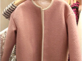 韩国东大门代购秋冬新款女装纯色毛呢外套女短款宽松短外套开衫潮