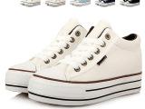 韩版低帮松糕厚底帆布鞋女内增高 纯色系带休闲学生板鞋懒人鞋子
