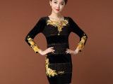 天鹅姐姐 女装免费代理加盟 条纹刺绣盘花丝绒烫钻拼蕾丝连衣裙