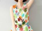 夏季新款女裙 白底彩花中腰连衣裙休闲款甜美韩版成人装